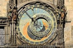Astronomical dial of the Prague Astronomical Clock on the clock tower of the Old Town City Hall, Old Town Square, historic district, Prague, Bohemia, Czech Republic, Europe