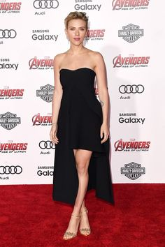 Scarlett Johansson in Stella McCartney paired with Jerome C. Rousseau sandals  attends the L.A. premiere of Marvel's 'Avengers: Age Of Ultron'. #bestdressed