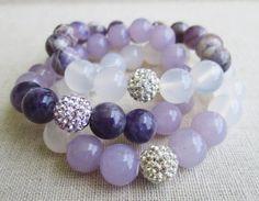 Love & Light: Royal Amethyst Beaded Stretch Bracelet Set Stretch Bracelets, Beaded Bracelets, White Jade, Spiritual Growth, Love And Light, Bracelet Set, Amethyst, Bling, Beautiful