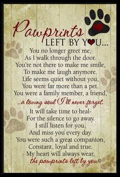 Beautiful words of sympathy for the loss of a dogs or cat. wall plaque featuring our Pawprints Left by You poem written by Teri Harrison. Our pet loss poem is the ideal gift for those coping with the loss of a pet. Pet Loss Quotes, Dog Death Quotes, Lost Dog Quotes, Pet Quotes Dog, Quotes About Dogs Passing, Quotes About Pets, Pet Memes, Pet Loss Poems, Dog Loyalty Quotes