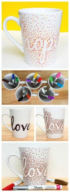 Use Dollar Store mugs and oil-based Sharpies to make easy and inexpensive mugs that are perfect for gifts.