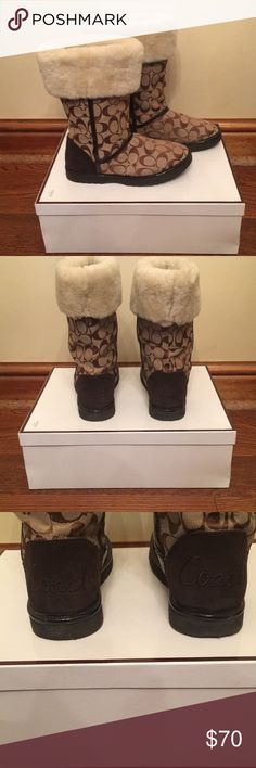Coach Boots Brown Coach Nikole fur lined boots. Size 7. Minimal wear, in great condition. Coach Shoes Winter & Rain Boots