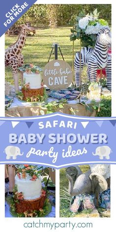 Check out this cute safari-themed baby shower for twins. The cake is gorgeous! See more party ideas and share yours at CatchMyParty.com  #catchmyparty #partyideas #safari #safariparty #babyshower #safaribabyshower