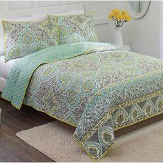 Better Homes & Gardens Arabesque Quilt, 1 Each – Walmart Garden Bedroom, Home Bedroom, Bedroom Furniture, Bedroom Ideas, Master Bedroom, Purple Curtains, Purple Walls, Better Homes And Gardens, Quilt Sets Queen