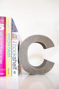 DIY Concrete Letter Bookend