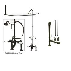 Oil Rubbed Bronze Clawfoot Tub Faucet Shower Kit with Enclosure Curtain Rod 107T5CTS