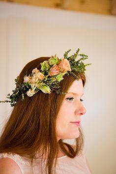 Natural flower crown, peach roses, straight hair, boho-chic wedding hair // M. Magee Photography