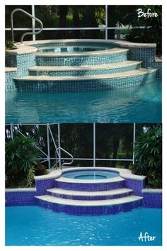 Simply updating your tile can give your swimming pool a new life. There are so many beautiful tile options, let H & H Custom Pools help you select one for your pool. Pool Remodel, Palm Beach Fl, Luxury Pools, Custom Pools, Outdoor Living, Outdoor Decor, Pool Designs, Living Spaces, Tile