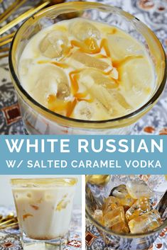 Make this Caramel White Russian Cocktail Recipe with just a few ingredients like delicious Salted Caramel Vodka and Kahlua. Make this Caramel White Russian Cocktail Recipe with just a few ingredients like delicious Salted Caramel Vodka and Kahlua. Vodka Recipes, Alcohol Drink Recipes, Cocktail Recipes, Gourmet Recipes, Pudding Shot Recipes, Pudding Shots, Bacon Recipes, Pina Colada, Carmel Vodka Drinks