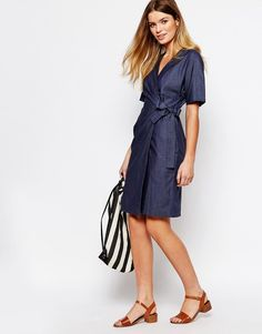 Image 4 ofPeople Tree Organic Fairtrade Cotton Wrap Front Dress in Chambray Denim Look