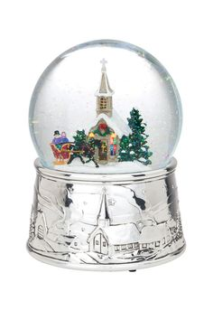Reed & Barton Musical Snow Globes Silent Night Snow Globe with Continually Blowing Snow and Light