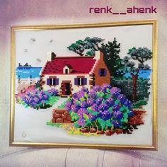Framed landscape hama perler beads by renk__ahenk