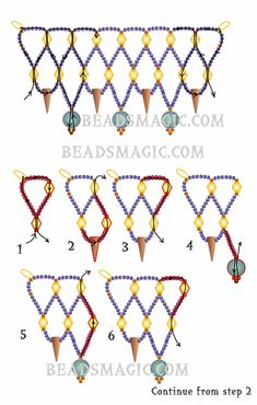 Free pattern for beaded necklace Vivian U need: seed beads 15/0 bicone beads 4 mm