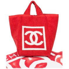 1ded887d79d7 Chanel Beach Bag and Towel - red white terry cloth