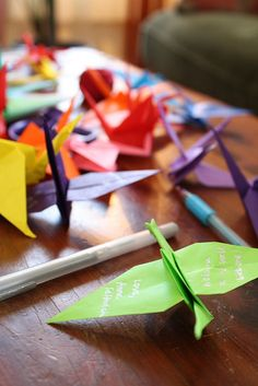Baby Shower Activity - paper cranes with good wishes.