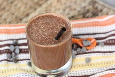 Mocha Smoothie 4 small ice cubes 1/2 cup of low-fat vanilla frozen yogurt 1 shot of espresso 2 teaspoons of cocoa powder Add ingredients to blender in this order, then blend at a high speed until smooth.
