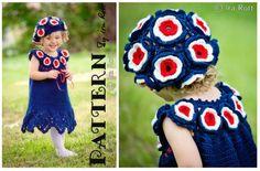 Patriotic Flower Summer Dress and Beret Set  Crochet Pattern by Ira Rott