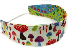Mushrooms, houses, trees, flowers, featured in this reversible headband, by #mylittlepoppyseed on Etsy - Visit and like my Facebook page and my Etsy shop - Bienvenue dans ma boutique!  https://www.facebook.com/MyLittlePoppySeedCreations  https://www.etsy.com/ca/shop/mylittlepoppyseed