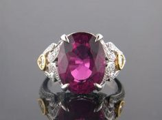 18 Karat Gold Pink Tourmaline and Diamond Ring