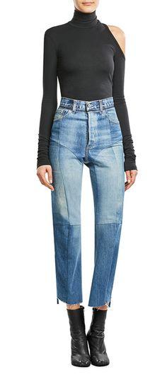 Cooler Vintage-Charakter: Die Cropped-Jeans des Pariser Labels Vetements wurde im Reworked-Style aus mehreren Jeans zusammengesetzt. Ergebnis? Jede Jeans ein Unikat! #Stylebop