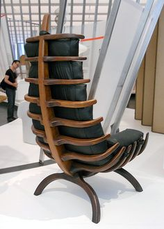 """Rib Chair by Arthur Espenet Carpenter From the California Design, 1930 - 1965 """"Spared no expense!"""" This reminds me of Jurassic Park. Funky Furniture, Unique Furniture, Wood Furniture, Furniture Design, Poltrona Design, Muebles Art Deco, Deco Design, Cool Chairs, Chair Design"""