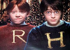 Who says wizards can't have any fun? Ron Weasley and Harry Potter show a lighter side in monogramed ugly Christmas sweaters (jumpers). Now if only Lord Voldemort would show up with the brie, … Harry Potter Tumblr, Harry Potter World, Harry Potter Dvd, Harry James Potter, Natal Do Harry Potter, Harry Potter Navidad, Harry Potter Weihnachten, Fans D'harry Potter, Ron And Harry