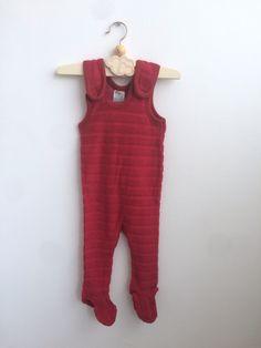 Scandinavian Vintage Dark Red Baby Romper in soft Terry Cloth 0-6 months, European Retro 80s Little Girls Jumpsuit by ElleBelleVin on Etsy
