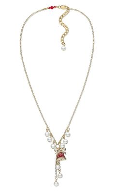 """Single-Strand Necklace and Earring Set with Gold-Plated """"Pewter"""" with Enamel Charm, Swarovski Crystal Pearls and Beads and Metal Chain"""