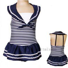Navy New Girls Kids one piece bathing suit Swimwear Swimsuit 1-8 years so dang cute