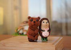 Ложки с декором Ёжик и Медвежонок – купить в интернет-магазине на Ярмарке Мастеров с доставкой