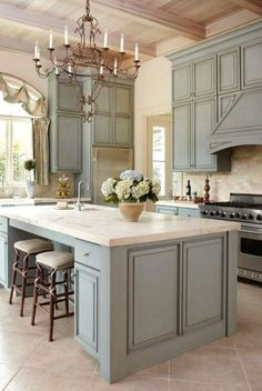 French Country Kitchen Beautiful Paint Color On The Cabinetry. I Love The  Light Fixture And The Design Of The Cabinetry. I Like This Kitchen!