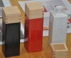 square sake bottle with drinking box