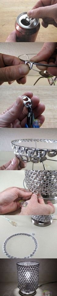 Amazing DIY Lamp Shade Made From Soda Top Tabs