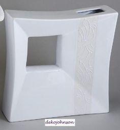 Moderne Vase in Klassik Creme, 30 cm eckig mit Relifierung Dekovase Tischvase