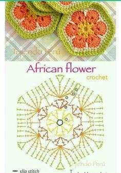Beautiful Granny Square - great for a blanket. Crochet Snowflake Pattern, Crochet Mandala Pattern, Granny Square Crochet Pattern, Crochet Flower Patterns, Crochet Diagram, Crochet Chart, Crochet Squares, Flower Granny Square, Crochet African Flowers