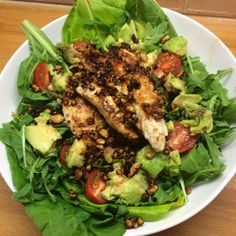 recipe: Honey cashew coated chicken with avocado salad from Joe Wicks aka The Body Coach - Healthista Bodycoach Recipes, Joe Wicks Recipes, Clean Recipes, Chicken Recipes, Cooking Recipes, Joe Wicks Lean In 15, Lean Meals, Healthy Eating Recipes, Healthy Food