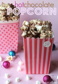 Popcorn with marshmallows, white chocolate, milk chocolate, and hot chocolate mix