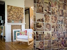 use slightly bigger photos and adhere to a board to hang above the LR-Kitchen pass through.