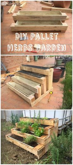 #Garden, #Herbs, #PalletPlanter, #Stairs Here is an original version of a small herbs garden. The stairs shape is perfect to save space and avoid backaches!