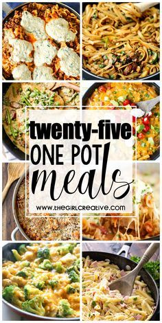 25 One Pot Meals perfect for the busy working, soccer, stay-at-home mom. Delicious quick dinners for the family on the go. Pasta recipes, rice recipes, soups and more.
