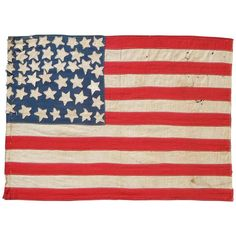 Vintage Folk Art American Flag with 44 Stars | From a unique collection of antique and modern political and patriotic memorabilia at https://www.1stdibs.com/furniture/folk-art/memorabilia-political-patriotic/