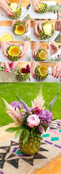deko sommerfest, vase aus ananas selber machen, blumen