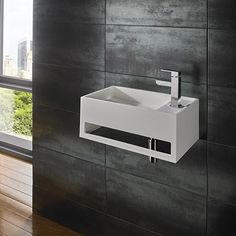 50cm x 30 cm Flux Ultra Modern White Solid Surface Square Wall Mounted Basin