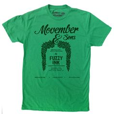 Movember tee Architecture tee Moustache Shirt Green by FuzzyInk, $21.00