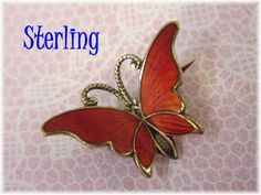 Norway ~ Sterling Silver Guilloche Enamel Red Butterfly Brooch ~ Scandinavian ~ Newport Rhode Island RI Estate Treasure  @@ FREE SHIPPING @@