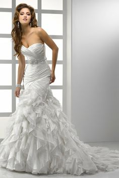 Ruffled wedding dress with sparkle belt