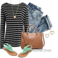 """Casual stripes"" by bonnaroosky on Polyvore"