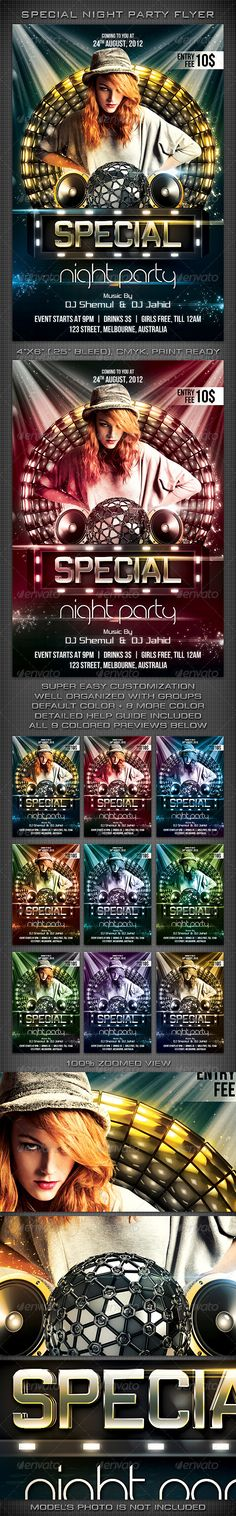 """Special Night Party Flyer #GraphicRiver 300 DPI, CMYK, 4""""x6"""" (4.25""""x6.25"""" with Bleeds), Print Ready This Flyer is well Organized and Fully Editable (100% Layered). This flyer template is for any Event, May be you can use it for a night club event/party/concert/festival or Ad. Note: Model used in the preview is not included. Fonts used in the design are 'Vibrocentric', 'Bebas Neue' & 'JK Abode'. Can be downloaded from here: Vibrocentric Bebas Neue JK Abode If you like my Item, Please Rate it…"""