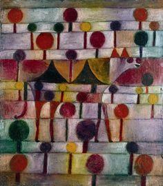 Paul Klee Kamel in rhythmischer Baumlandschaft 1920/43 Malerei Öl und Feder auf kreidegrundierter Gaze auf Karton 48 × 42 cm