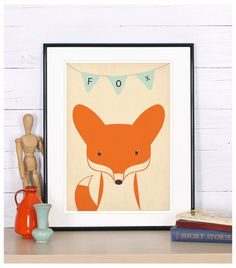 Retro poster - fox, vixen, forest animals - vintage print, A3, nursery wall decoration, retro wall decor, cute baby animal. $19.00, via Etsy.